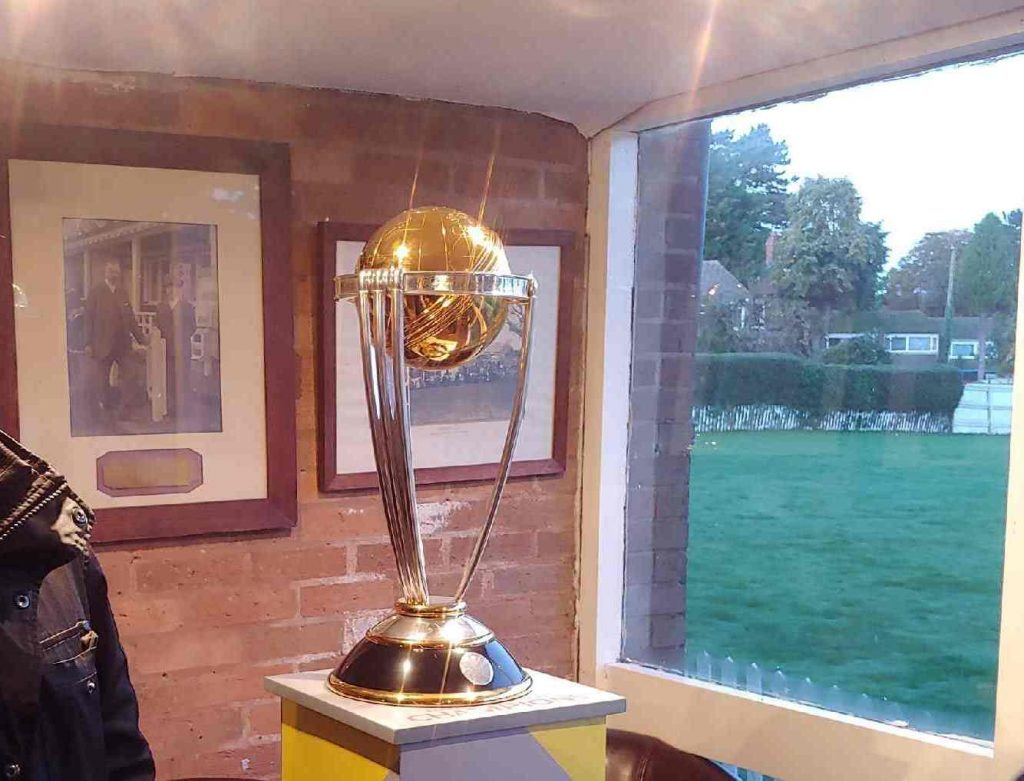 Cricket World Cup Trophy at Moseley Ashfield Cricket Club _ Picture Credit, Fraz Wahlah