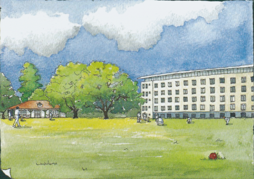 Clare Lindley's Watercolour Painting of the Moseley Ashfield Cricket Club's new Britannic Park Ground